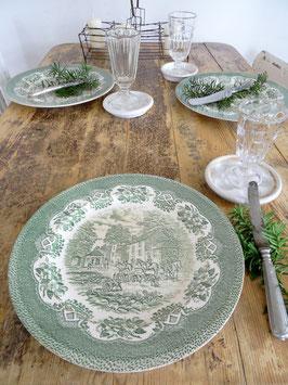 28 cm alter englischer Teller grünes Dekor
