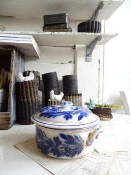 antike Pasteten-Terrine - blaues Dekor
