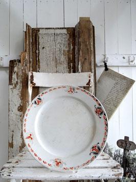 antiker GROSSER Teller Platte aus Frankreich rotschwarzes Dekor