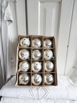12SET sehralte Christbaumkugeln Schnee + bunte Sterne