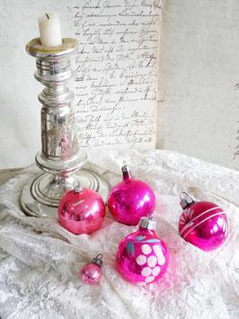 5erSET alter Baumschmuck rosa /pink