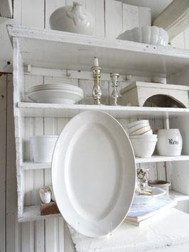 antike Platte CREIL weiße Keramik