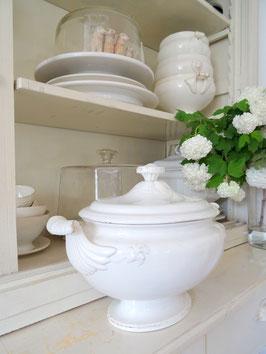VERKAUFT Lux 16.05. oval antike Terrine weiße Keramik BOCH FERES