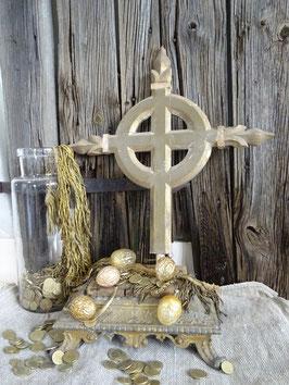 VERKAUFT Hie 26.09.   antikes Holzelement Holzkreuz - gold