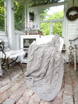 170x120cm handgestrickte Kuscheldecke - Wolle von JDL - Mohair-Tweed