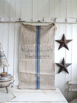 uralter Leinensack blaue Streifen WALTER BRAUNE I