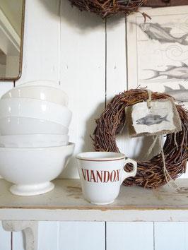antike franz Kaffeetasse VIANDOX - braunes Dekor SARREGUEMINES