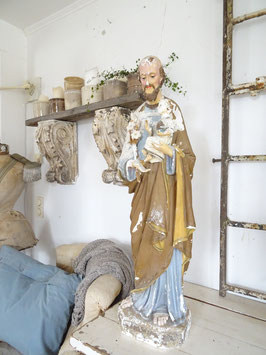 90cm antike Statue Vater & Sohn aus Frankreich