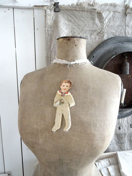 14,5cm Junge aus Wattefilz antiker Christbaumschmuck
