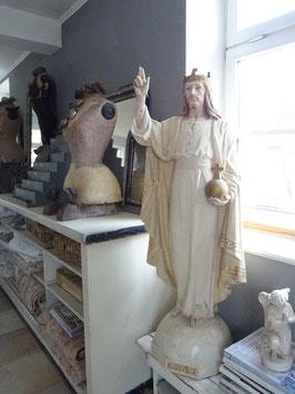 VERKAUFT Arn 19.01.    122cm CHRISTUS REX antike Heiligenfigur aus Frankreich