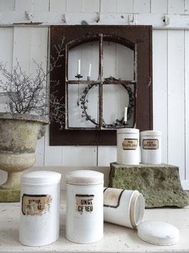Antiker Apotheker-Topf weißes Porzellan mit Aufkleber