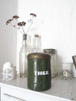 antike Vorratsdose THEE aus Holland (Tee) dunkelolivgrün
