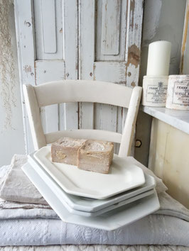 Uralte Platte Porzellan/Keramik 8eckig weiß