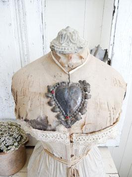 EX VOTO antikes Votiv-Herz aus Silber rote Steine