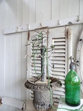220cm uralte Baumkette aus Hohlglasperlen - dunkelgrün