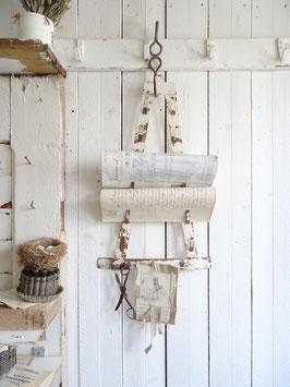 uralter Topfdeckelhalter Zeitungshalter alter weißer Lack grandiose Patina