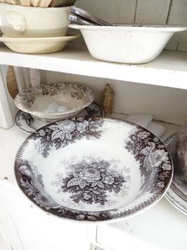 antike Waschschüssel Salatschüssel 34cm schwarzes Dekor DIGOIN
