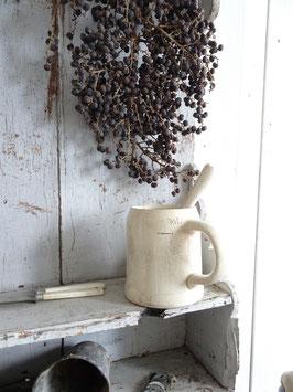 1/2L antiker Henkelpott weiße Keramik