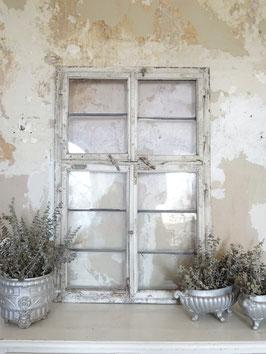 antikes Fenster - bleiverglast -  komplett - alter weißer Lack