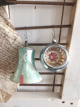 2erSET alter Baumschmuck Glocke + Einstichkugel blau