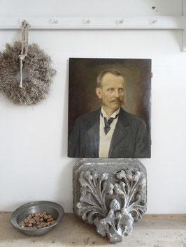 Edelmann - 60x50cm antikes Portrait - Öl auf Holz aus Frankreich