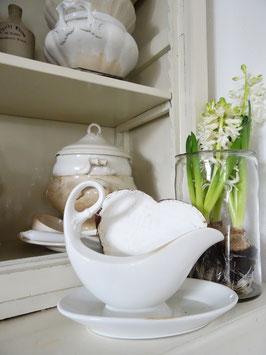 imposante antike Sauciere weißes Porzellan