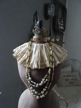 antike Hohlglaskette - mehrere Stränge silber gold