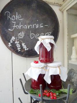 1 Glas ROTE JOHANNISBEERE-Konfitüre OHNE Kerne/Stücke