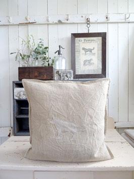 51x48cm HUND Kissen aus antikem Leinen