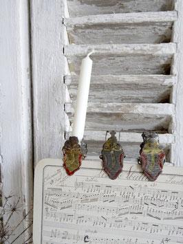 antiker Kerzenhalter Kleeblatt mehrfarbig rot-gold