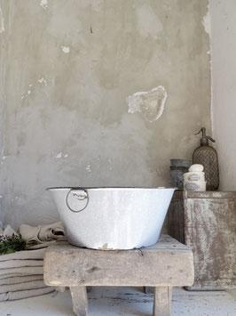 uralte große Waschschüssel mit Griffen - graue Emaille