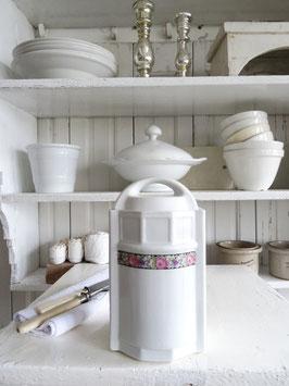 antike Vorratsdose weißes Porzellan Rosen (2)