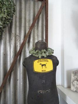 alte franz Stallplakette Zuchtplakette schwarz/maisgelb