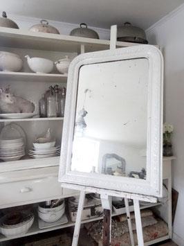 100cm antiker französischer Kaminspiegel - Traumteil weiß