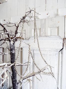 VERKAUFT Syl 19.11.   130cm uralte Baumkette aus Hohlglasperlen silber