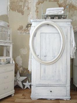 100x80cm antiker Bilderrahmen Spiegelrahmen oval mit altem weißem Lack
