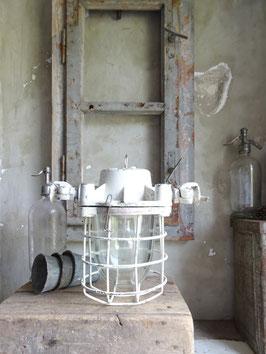 alte WEISSE Industrielampe Hängelampe I