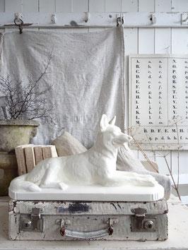 SCHÄFERHUND sehr alte Skulptur SARREGUEMINES