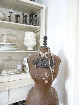 320cm uralte Baumkette aus Hohlglasperlen silber