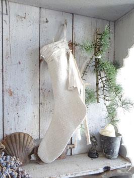 VERKAUFT Lad 04.10. 50cm Elfenstiefel Weihnachtsstiefel aus antikem Leinen
