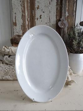 uralte 34cm Platte Keramik weiß Frankreich mit Patina
