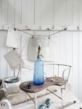 LAMPE antike SODAFLASCHE blau Kegel