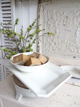Uralte Platte LUNEVILLE Keramik 8eckig weiß