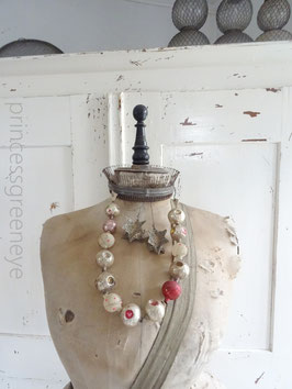 VERKAUFT Arn 29.11.    antike Hohlglaskette - große Elemente - rosa, silber, gold