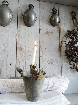 antiker Kerzenhalter KRONE gold