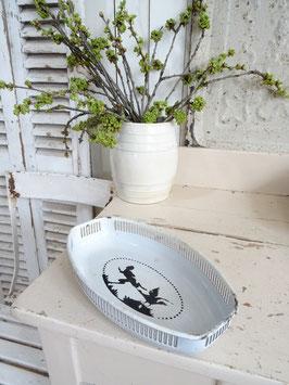 antike Brotschale Schrippenschale weiße Emaille schwarzes Motiv