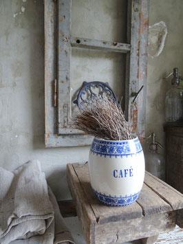 antiker Tonnentopf Vorratstopf - SARREGUEMINES CAFE blaues Dekor