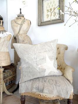 59x54cm STERNE Kissen aus antikem Leinen