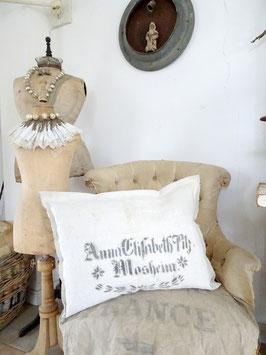 VERKAUFT Kah 11.12. 59x45cm Kissen aus antikem Leinen ANNA ELISABETH