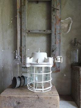 alte WEISSE Industrielampe Hängelampe II